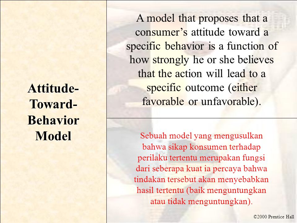 ©2000 Prentice Hall Attitude- Toward- Behavior Model A model that proposes that a consumer's attitude toward a specific behavior is a function of how