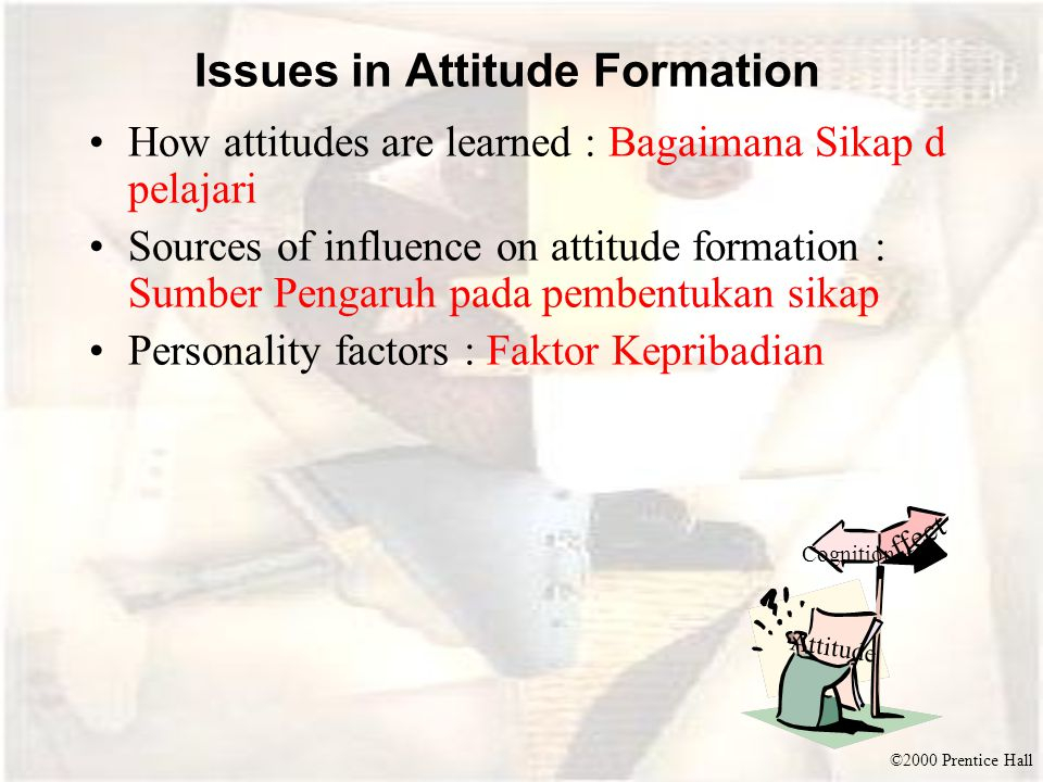 ©2000 Prentice Hall Issues in Attitude Formation How attitudes are learned : Bagaimana Sikap d pelajari Sources of influence on attitude formation : S