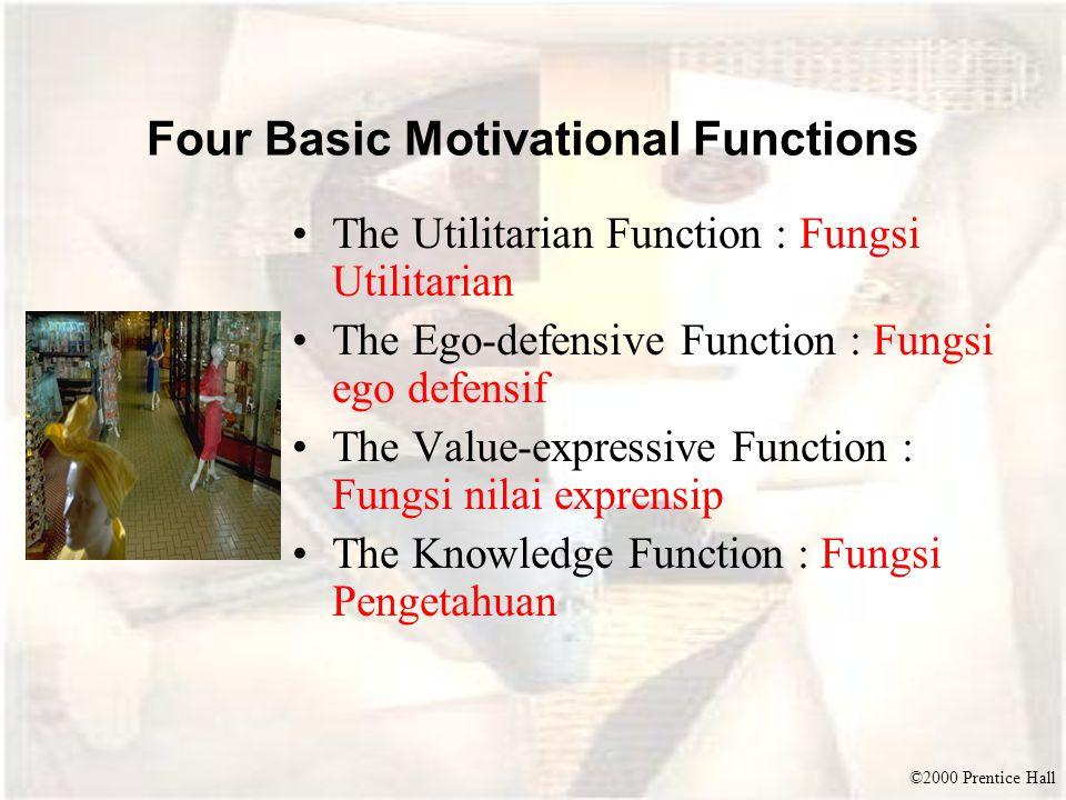 ©2000 Prentice Hall Four Basic Motivational Functions The Utilitarian Function : Fungsi Utilitarian The Ego-defensive Function : Fungsi ego defensif T
