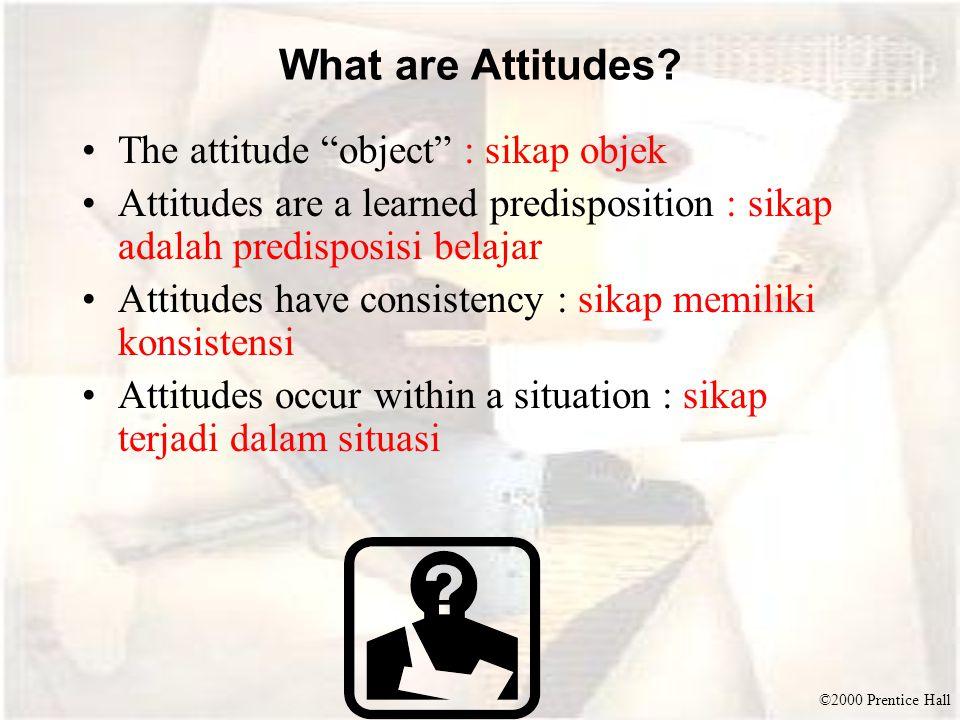 "©2000 Prentice Hall What are Attitudes? The attitude ""object"" : sikap objek Attitudes are a learned predisposition : sikap adalah predisposisi belajar"