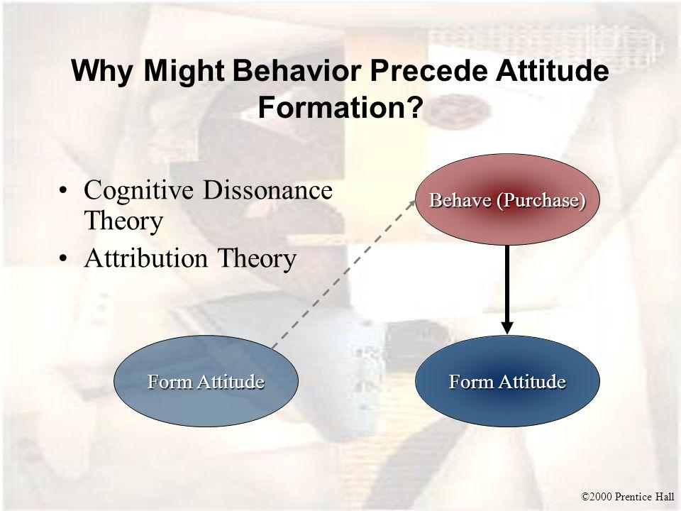 ©2000 Prentice Hall Why Might Behavior Precede Attitude Formation? Cognitive Dissonance Theory Attribution Theory Behave (Purchase) Form Attitude