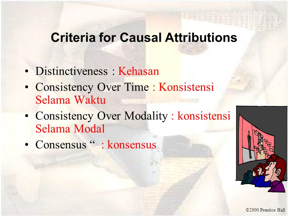©2000 Prentice Hall Criteria for Causal Attributions Distinctiveness : Kehasan Consistency Over Time : Konsistensi Selama Waktu Consistency Over Modal