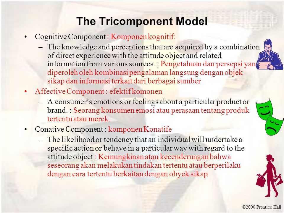 ©2000 Prentice Hall The Tricomponent Model Cognitive Component : Komponen kognitif: –The knowledge and perceptions that are acquired by a combination