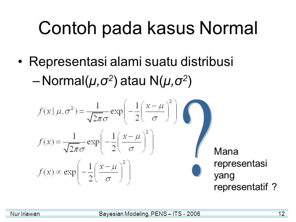 Nur Iriawan Bayesian Modeling, PENS – ITS - 2006 12 Contoh pada kasus Normal Representasi alami suatu distribusi –Normal(μ,σ 2 ) atau N(μ,σ 2 ) Mana r