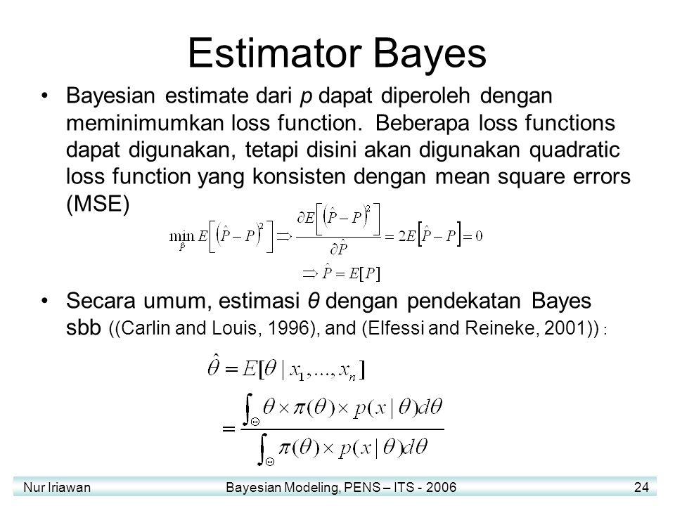 Nur Iriawan Bayesian Modeling, PENS – ITS - 2006 24 Estimator Bayes Bayesian estimate dari p dapat diperoleh dengan meminimumkan loss function.