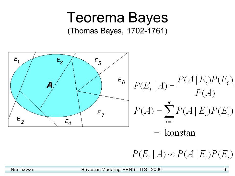 Nur Iriawan Bayesian Modeling, PENS – ITS - 2006 3 Teorema Bayes (Thomas Bayes, 1702-1761)
