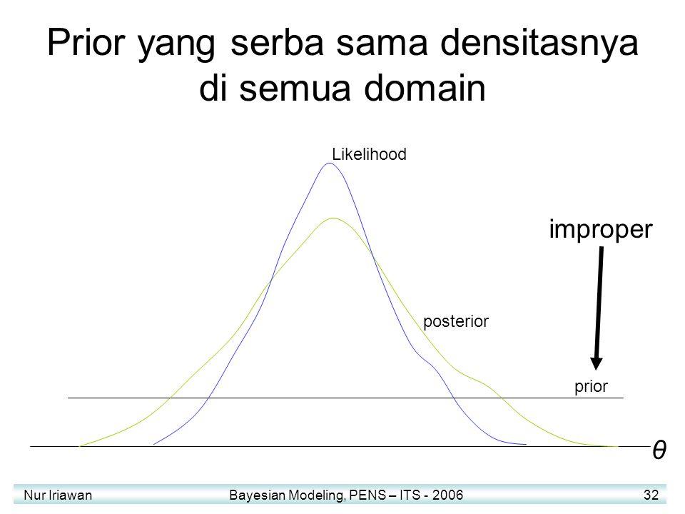Nur Iriawan Bayesian Modeling, PENS – ITS - 2006 32 Prior yang serba sama densitasnya di semua domain prior Likelihood posterior θ improper