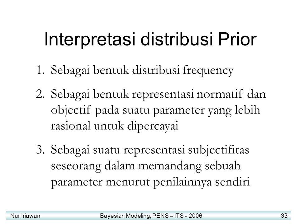 Nur Iriawan Bayesian Modeling, PENS – ITS - 2006 33 Interpretasi distribusi Prior 1.Sebagai bentuk distribusi frequency 2.Sebagai bentuk representasi normatif dan objectif pada suatu parameter yang lebih rasional untuk dipercayai 3.Sebagai suatu representasi subjectifitas seseorang dalam memandang sebuah parameter menurut penilainnya sendiri