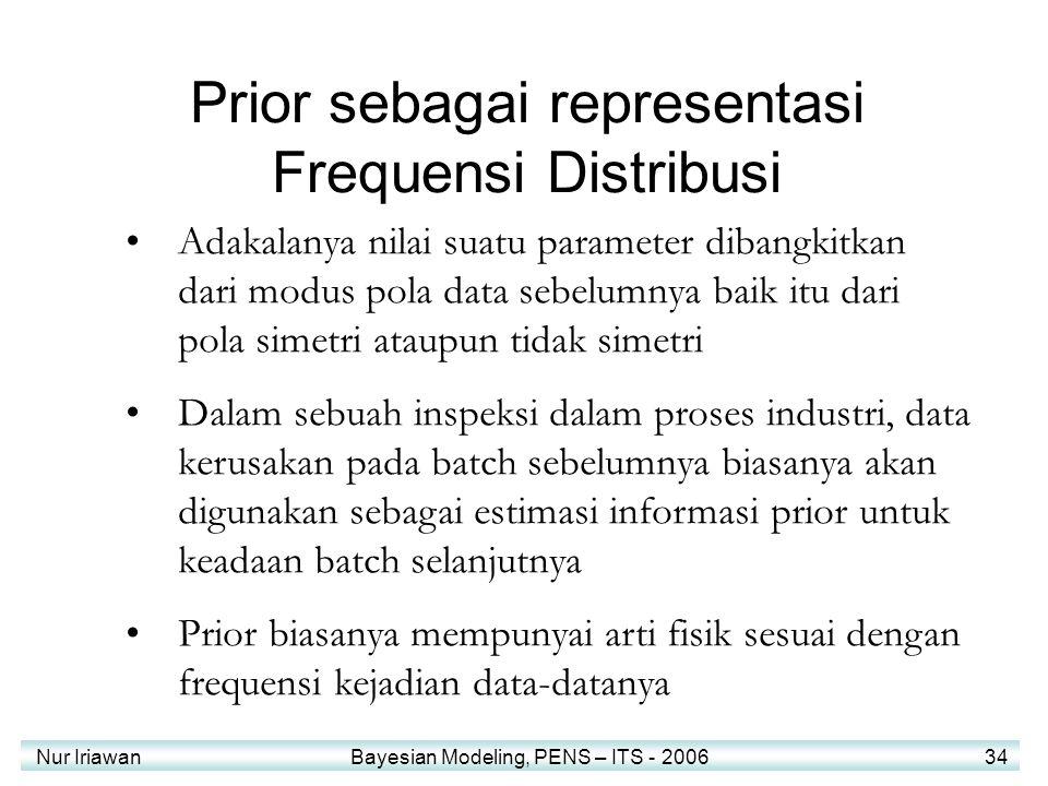 Nur Iriawan Bayesian Modeling, PENS – ITS - 2006 34 Prior sebagai representasi Frequensi Distribusi Adakalanya nilai suatu parameter dibangkitkan dari