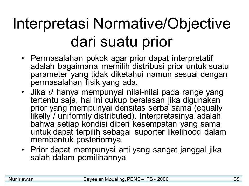 Nur Iriawan Bayesian Modeling, PENS – ITS - 2006 35 Interpretasi Normative/Objective dari suatu prior Permasalahan pokok agar prior dapat interpretatif adalah bagaimana memilih distribusi prior untuk suatu parameter yang tidak diketahui namun sesuai dengan permasalahan fisik yang ada.