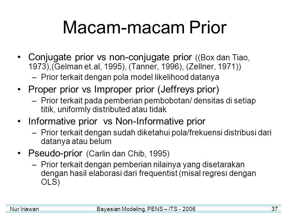 Nur Iriawan Bayesian Modeling, PENS – ITS - 2006 37 Macam-macam Prior Conjugate prior vs non-conjugate prior ((Box dan Tiao, 1973),(Gelman et.al, 1995), (Tanner, 1996), (Zellner, 1971)) –Prior terkait dengan pola model likelihood datanya Proper prior vs Improper prior (Jeffreys prior) –Prior terkait pada pemberian pembobotan/ densitas di setiap titik, uniformly distributed atau tidak Informative prior vs Non-Informative prior –Prior terkait dengan sudah diketahui pola/frekuensi distribusi dari datanya atau belum Pseudo-prior (Carlin dan Chib, 1995) –Prior terkait dengan pemberian nilainya yang disetarakan dengan hasil elaborasi dari frequentist (misal regresi dengan OLS)