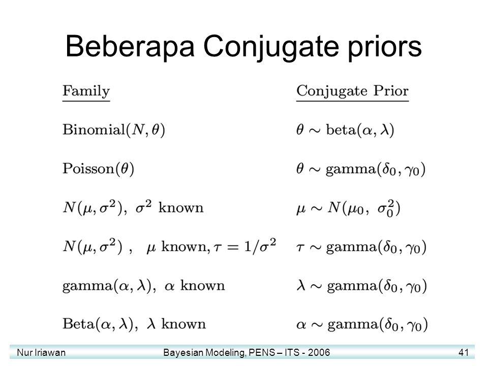 Nur Iriawan Bayesian Modeling, PENS – ITS - 2006 41 Beberapa Conjugate priors