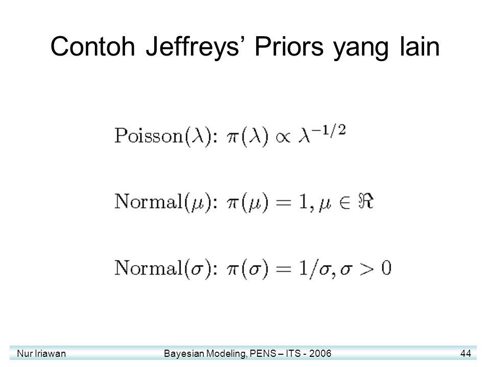 Nur Iriawan Bayesian Modeling, PENS – ITS - 2006 44 Contoh Jeffreys' Priors yang lain