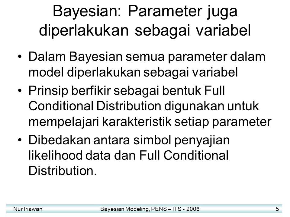Nur Iriawan Bayesian Modeling, PENS – ITS - 2006 5 Bayesian: Parameter juga diperlakukan sebagai variabel Dalam Bayesian semua parameter dalam model d