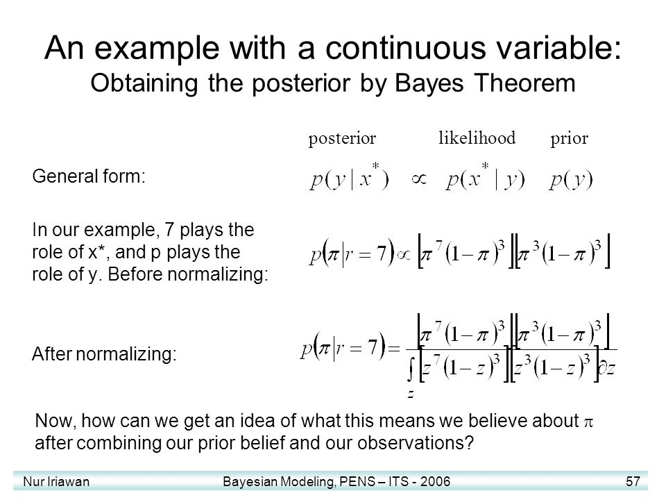 Nur Iriawan Bayesian Modeling, PENS – ITS - 2006 57 An example with a continuous variable: Obtaining the posterior by Bayes Theorem General form: In o