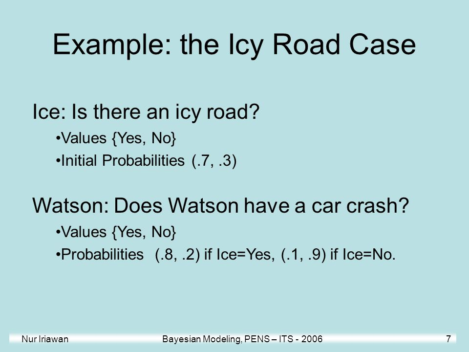 Nur Iriawan Bayesian Modeling, PENS – ITS - 2006 7 Ice: Is there an icy road? Values {Yes, No} Initial Probabilities (.7,.3) Watson: Does Watson have
