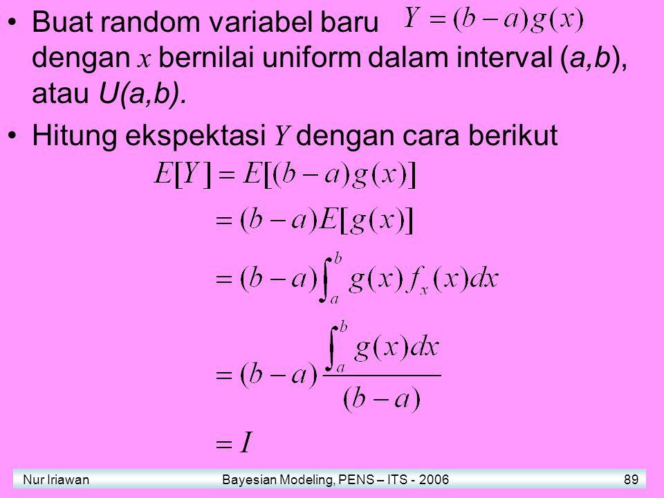 Nur Iriawan Bayesian Modeling, PENS – ITS - 2006 89 Buat random variabel baru dengan x bernilai uniform dalam interval (a,b), atau U(a,b).