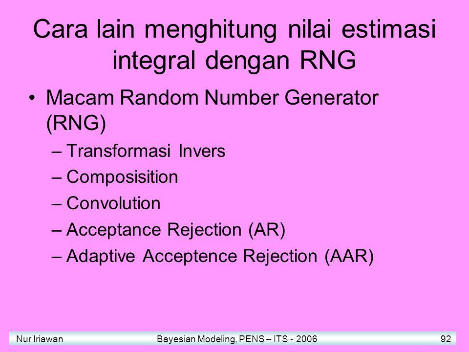 Nur Iriawan Bayesian Modeling, PENS – ITS - 2006 92 Cara lain menghitung nilai estimasi integral dengan RNG Macam Random Number Generator (RNG) –Transformasi Invers –Composisition –Convolution –Acceptance Rejection (AR) –Adaptive Acceptence Rejection (AAR)