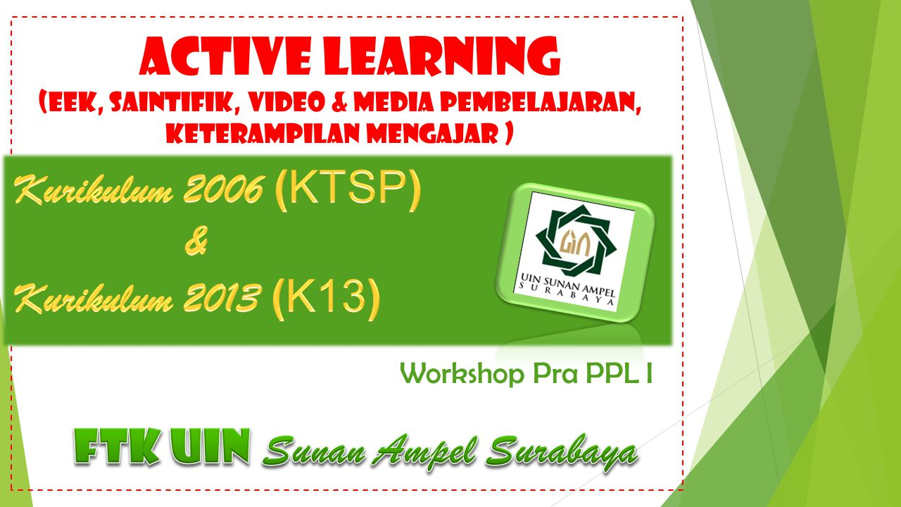 ACTIVE LEARNING (EEK, SAINTIFIK, VIDEO & MEDIA PEMBELAJARAN, keterampilan mengajar ) Workshop Pra PPL I