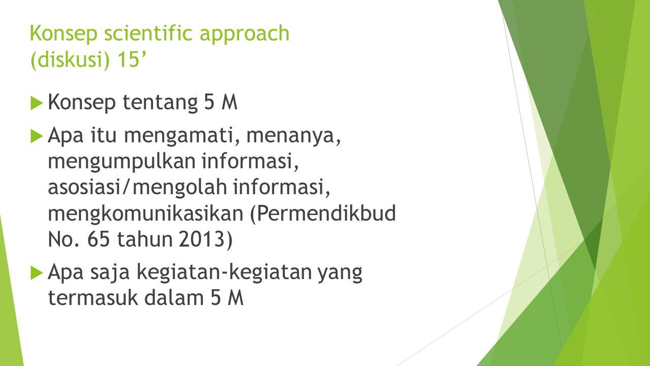 Peserta mengamati video dan mengisi LK yang sudah disediakan tentang kegiatan-kegiatan pembelajaran dalam video Menonton video pembelajaran k13 (10')
