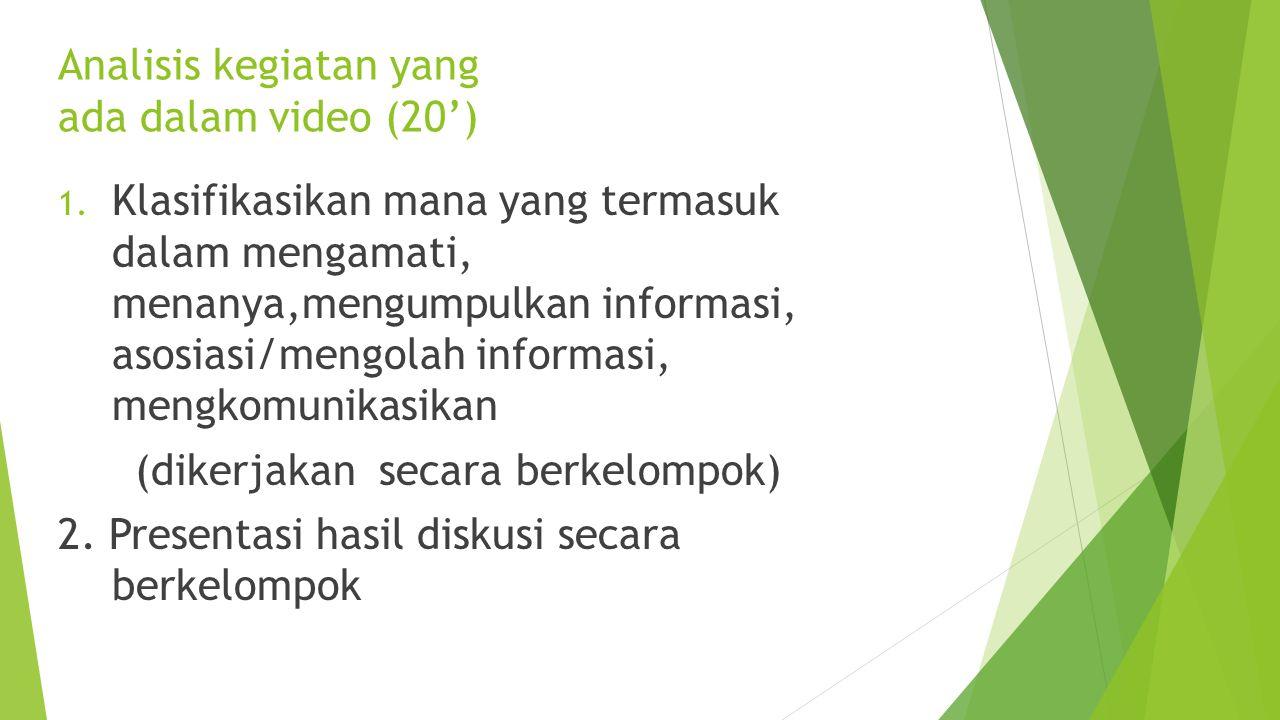 Konsep scientific approach (diskusi) 15'  Konsep tentang 5 M  Apa itu mengamati, menanya, mengumpulkan informasi, asosiasi/mengolah informasi, mengk