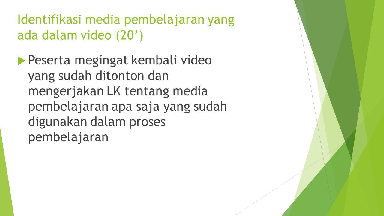 Bagaimana memilih media pembelajaran ? (10')  Karakteristik Warga belajar; jenis kelamin, pekerjaan, kebutuhan, kecakapan/ kemampuan awal  Tujuan pe