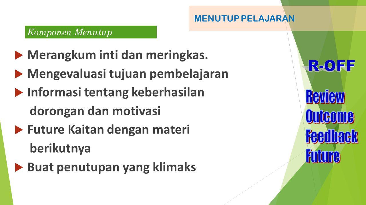 Komponen Membuka MEMBUKA PELAJARAN Tujuan Deskripsi Pokok Bahasan Apersepsi Nama-Panggilan-Kompetensi-Ramah-jangan basa basi Perkenalan Motivasi Tujuan pembelajaran- indikator keberhasilan-Manfaat Ruang lingkup materi- pokok bahasan dan metode Link Pengetahuan lama – pengetahuan baru minat-rasa ingin tahu-hangat-antusias
