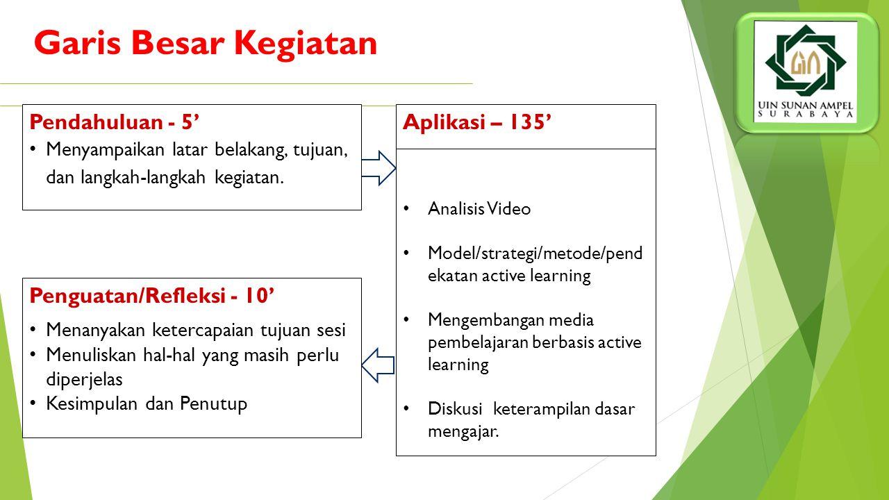 Setelah mengikuti sesi ini, peserta mampu:  Mengenal dan memahami active learning dalam kurikulum 2006 dan kurikulum 2013  Memahami berbagai macam m