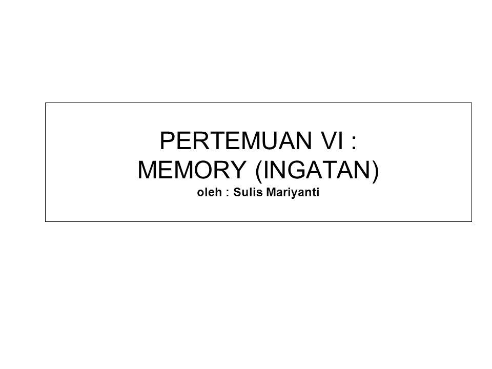 DEFINISI INGATAN/MEMORY MEMORY adalah: Proses encoding (pengkodean), storage (penyim- panan) & retrieval (pemunculan kembali) dari hal-hal yang telah dipelajari sebelumnya.