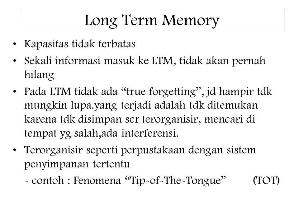 """Long Term Memory Kapasitas tidak terbatas Sekali informasi masuk ke LTM, tidak akan pernah hilang Pada LTM tidak ada """"true forgetting"""", jd hampir tdk"""