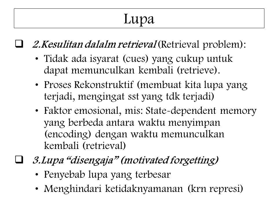 Lupa  2.Kesulitan dalalm retrieval (Retrieval problem): Tidak ada isyarat (cues) yang cukup untuk dapat memunculkan kembali (retrieve). Proses Rekons