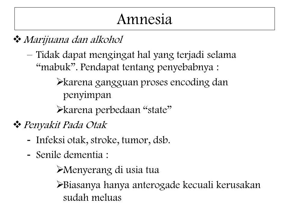 """Amnesia  Marijuana dan alkohol –Tidak dapat mengingat hal yang terjadi selama """"mabuk"""". Pendapat tentang penyebabnya :  karena gangguan proses encodi"""