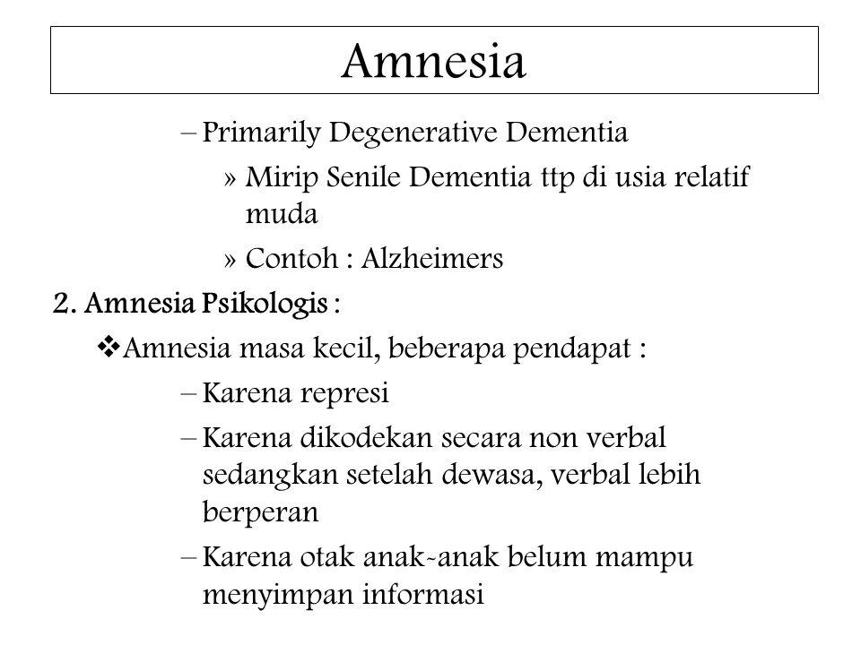 Amnesia –Primarily Degenerative Dementia »Mirip Senile Dementia ttp di usia relatif muda »Contoh : Alzheimers 2. Amnesia Psikologis :  Amnesia masa k