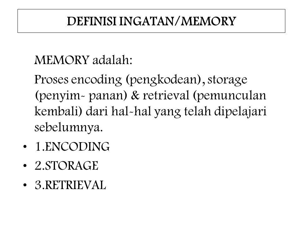 DEFINISI INGATAN/MEMORY MEMORY adalah: Proses encoding (pengkodean), storage (penyim- panan) & retrieval (pemunculan kembali) dari hal-hal yang telah