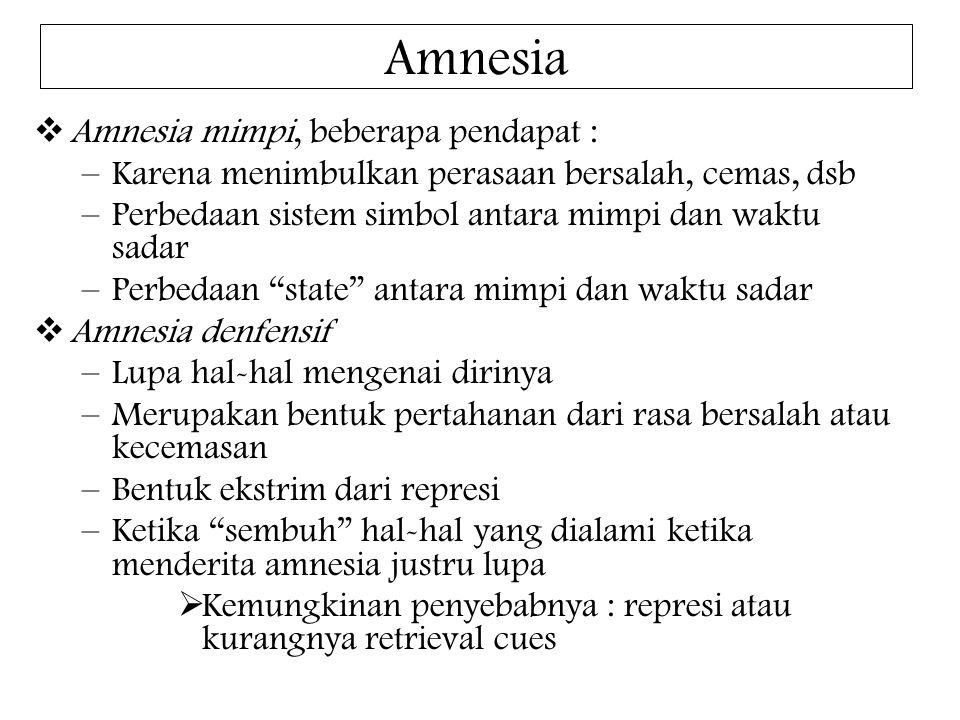 Amnesia  Amnesia mimpi, beberapa pendapat : –Karena menimbulkan perasaan bersalah, cemas, dsb –Perbedaan sistem simbol antara mimpi dan waktu sadar –