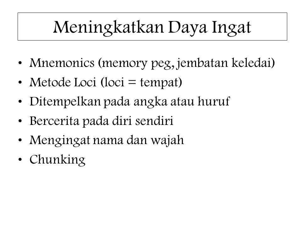 Meningkatkan Daya Ingat Mnemonics (memory peg, jembatan keledai) Metode Loci (loci = tempat) Ditempelkan pada angka atau huruf Bercerita pada diri sen