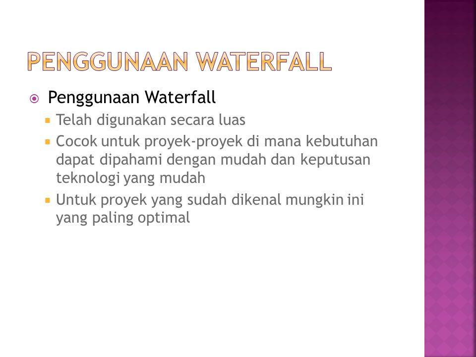  Penggunaan Waterfall  Telah digunakan secara luas  Cocok untuk proyek-proyek di mana kebutuhan dapat dipahami dengan mudah dan keputusan teknologi
