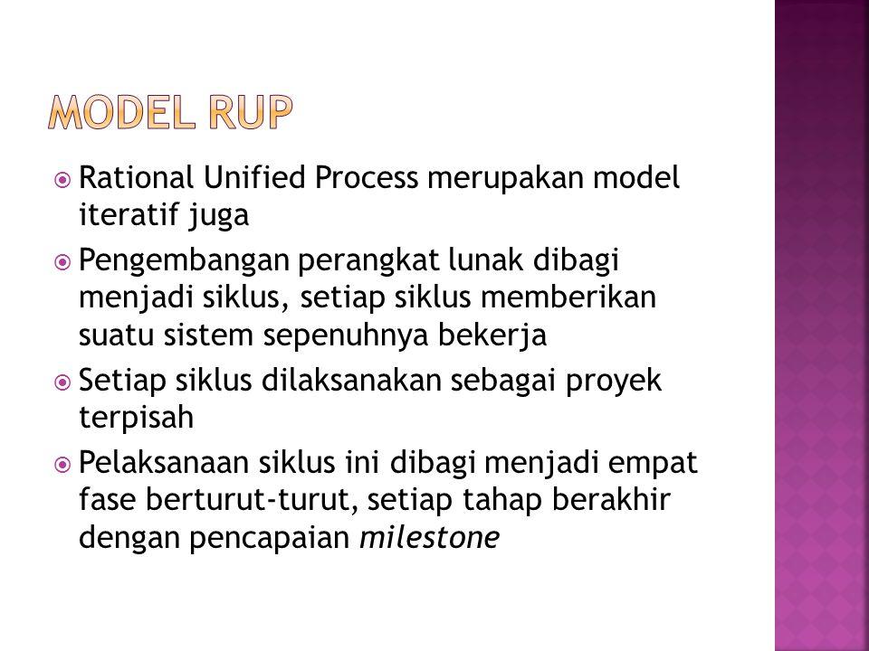  Rational Unified Process merupakan model iteratif juga  Pengembangan perangkat lunak dibagi menjadi siklus, setiap siklus memberikan suatu sistem s