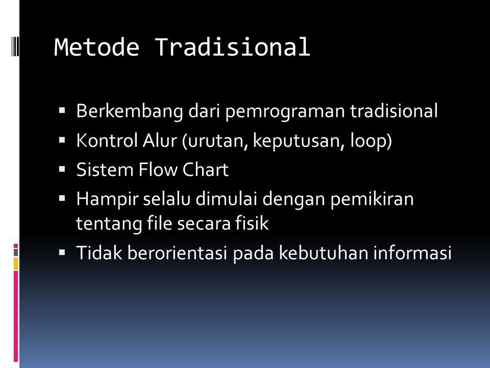 Metode Tradisional  Berkembang dari pemrograman tradisional  Kontrol Alur (urutan, keputusan, loop)  Sistem Flow Chart  Hampir selalu dimulai dengan pemikiran tentang file secara fisik  Tidak berorientasi pada kebutuhan informasi