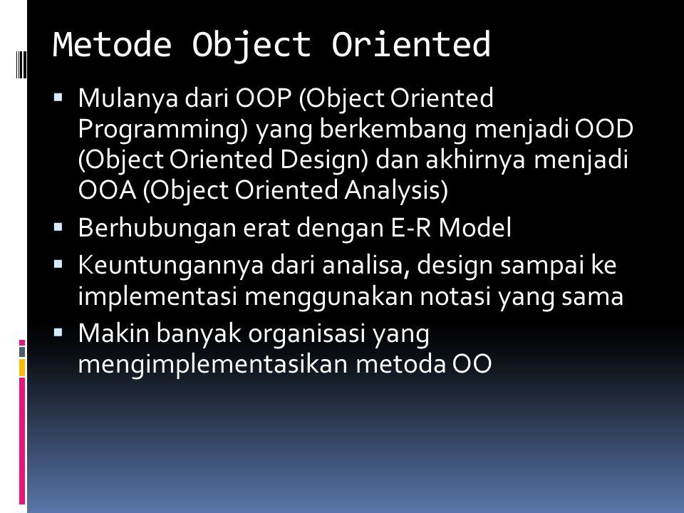 Metode Object Oriented  Mulanya dari OOP (Object Oriented Programming) yang berkembang menjadi OOD (Object Oriented Design) dan akhirnya menjadi OOA (Object Oriented Analysis)  Berhubungan erat dengan E-R Model  Keuntungannya dari analisa, design sampai ke implementasi menggunakan notasi yang sama  Makin banyak organisasi yang mengimplementasikan metoda OO
