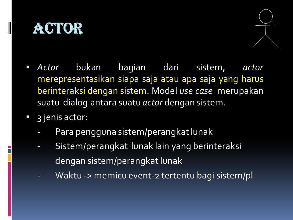 ACTOR  Actor bukan bagian dari sistem, actor merepresentasikan siapa saja atau apa saja yang harus berinteraksi dengan sistem.