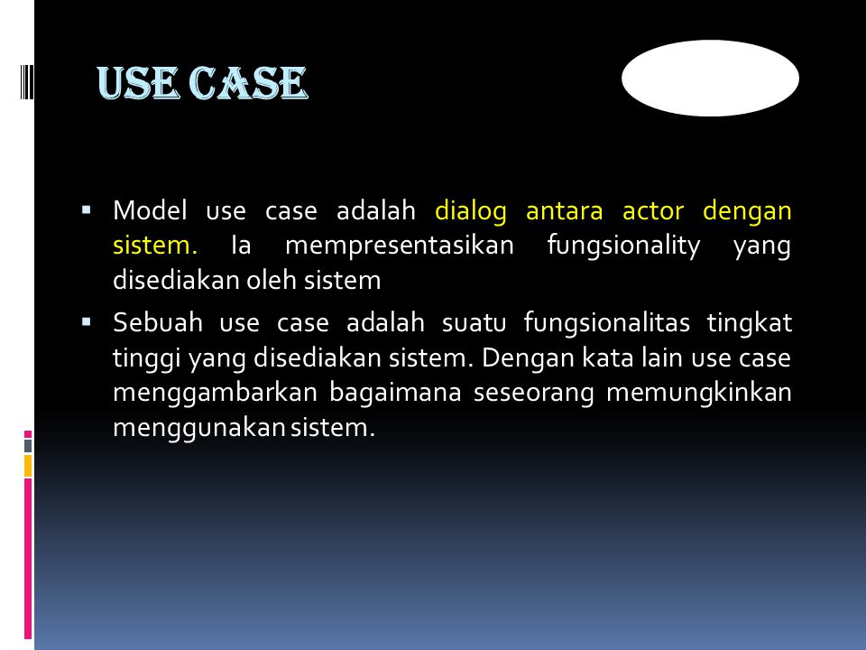 USE CASE  Model use case adalah dialog antara actor dengan sistem.