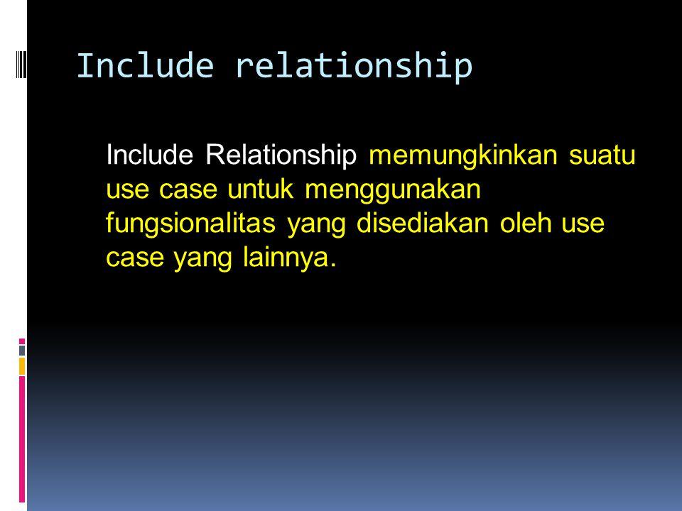 Include relationship Include Relationship memungkinkan suatu use case untuk menggunakan fungsionalitas yang disediakan oleh use case yang lainnya.