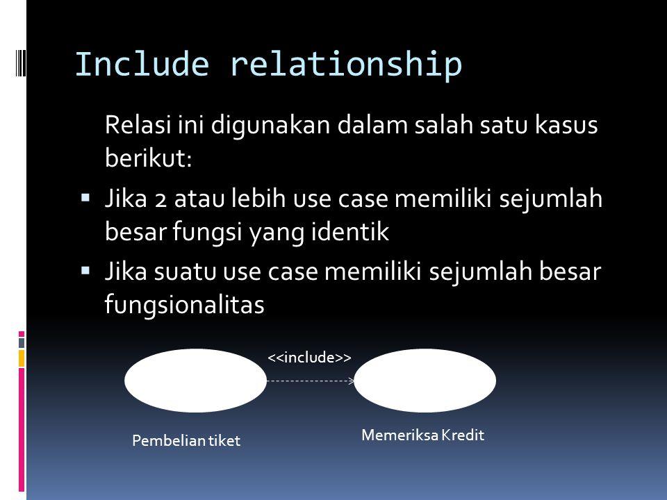 Include relationship Relasi ini digunakan dalam salah satu kasus berikut:  Jika 2 atau lebih use case memiliki sejumlah besar fungsi yang identik  Jika suatu use case memiliki sejumlah besar fungsionalitas Pembelian tiket Memeriksa Kredit >