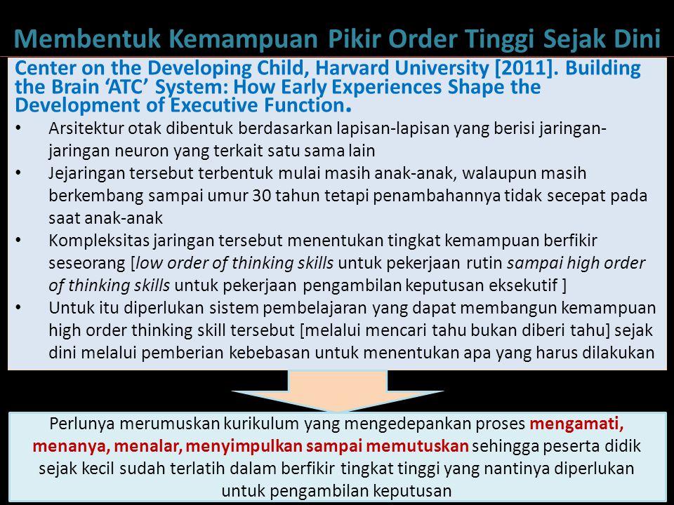 4 Membentuk Kemampuan Pikir Order Tinggi Sejak Dini Center on the Developing Child, Harvard University [2011]. Building the Brain 'ATC' System: How Ea