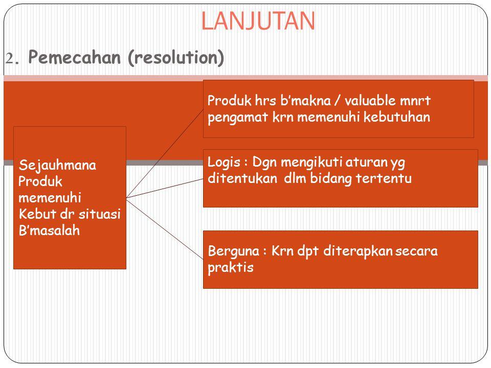 LANJUTAN 2. Pemecahan (resolution) Sejauhmana Produk memenuhi Kebut dr situasi B'masalah Produk hrs b'makna / valuable mnrt pengamat krn memenuhi kebu