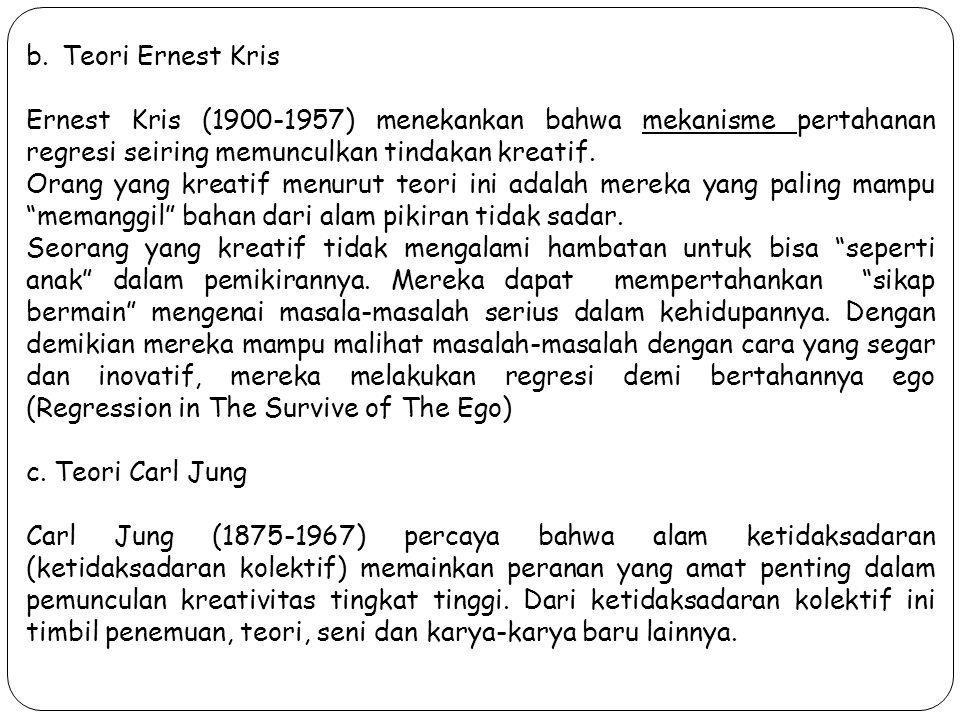b.Teori Ernest Kris Ernest Kris (1900-1957) menekankan bahwa mekanisme pertahanan regresi seiring memunculkan tindakan kreatif. Orang yang kreatif men