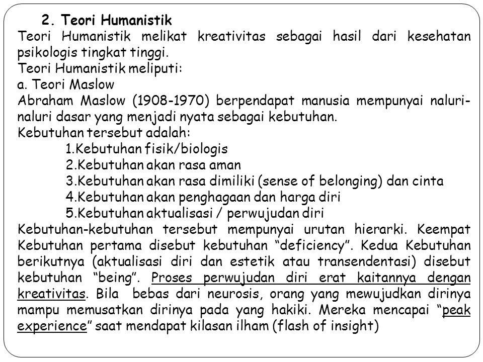 2. Teori Humanistik Teori Humanistik melikat kreativitas sebagai hasil dari kesehatan psikologis tingkat tinggi. Teori Humanistik meliputi: a. Teori M