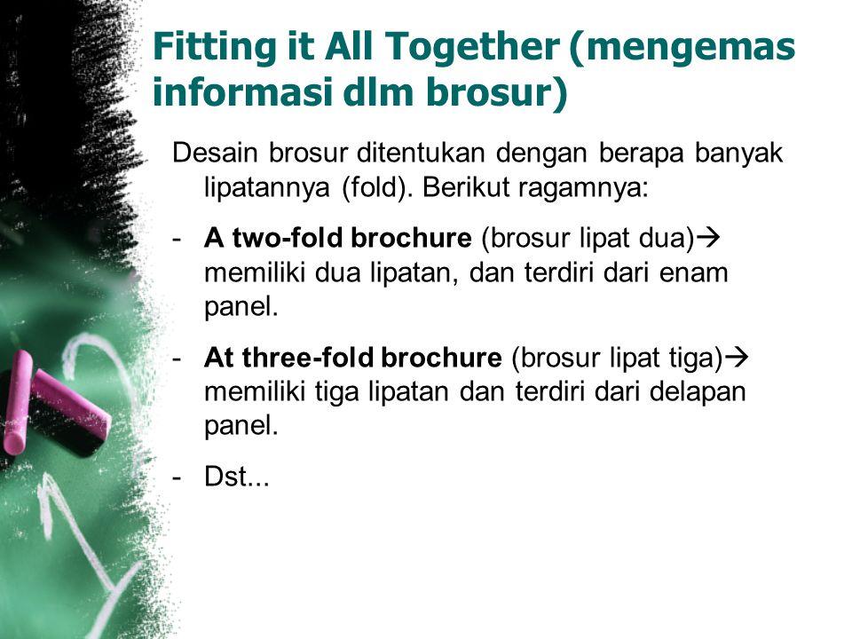 Fitting it All Together (mengemas informasi dlm brosur) Desain brosur ditentukan dengan berapa banyak lipatannya (fold). Berikut ragamnya: -A two-fold