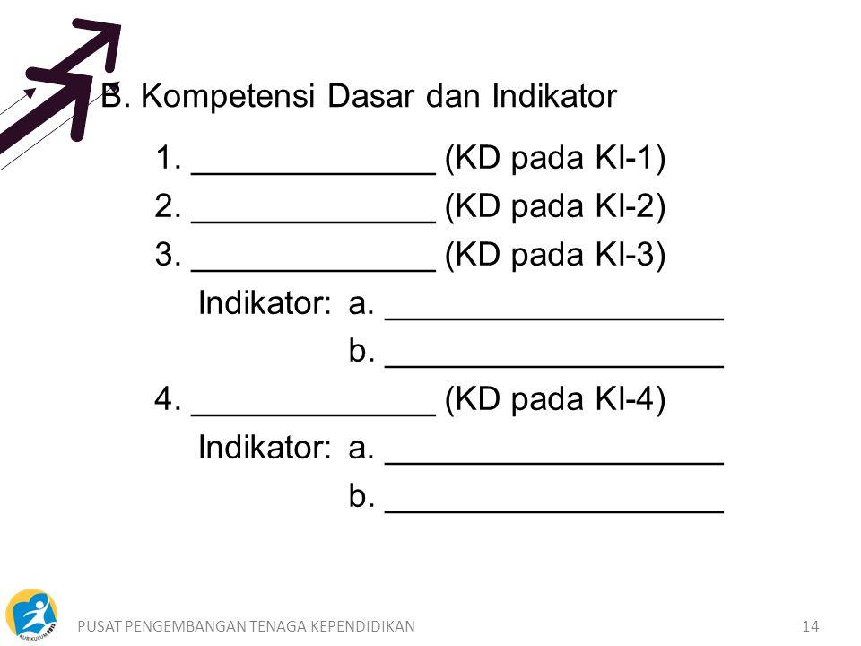 PUSAT PENGEMBANGAN TENAGA KEPENDIDIKAN14 B.Kompetensi Dasar dan Indikator 1.